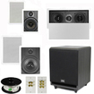 """Theater Solutions - 5.1 Home Theater 8"""" & 6.5"""" Speakers, Center, 8"""" Powered Sub & More TS6W8WL51SET3 - white"""