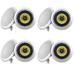 "Acoustic Audio - Acoustic Audio HD6 In Ceiling 6.5"" Speaker 4 Pair Pack 2 Way Home 2400W HD6-4Pr - White"