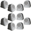 Acoustic Audio - Acoustic Audio RS6GG Grey 2500 Watt Outdoor Rock Speaker 5 Pair Pack RS6GG-5Pr - Gray