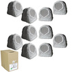 Acoustic Audio - Acoustic Audio RS6GG Grey 2500 Watt Rock Speaker 5 Pair Pack w/ Wire RS6GG-5PRW - Gray