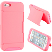 DrHotDeal - Hybrid 2 Piece Hard PC Soft Silicone Back Cover Case Card holder Stand for iPhone 5/5S - Pink - Pink