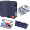 GreatShield - VANTAGE Series Denim Fabric Case (Sleep/Wake Function) with Stand for Samsung Galaxy Tab 3 8.0 - Blue