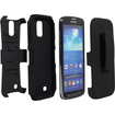 Fosmon - STURDY Shell Case Cover with Belt Clip & Stand Holster Combo for Samsung Galaxy S4 Active I9295 - Black