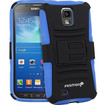 Fosmon - STURDY Shell Case Cover with Belt Clip & Stand Holster Combo for Samsung Galaxy S4 Active I9295 - Textured, Blue/Black Hybrid