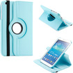 DrHotDeal - 360 Degree Rotating PU Leather Case Cover Swivel Stand for Samsung Galaxy Tab 3 8.0 P8200 Tablet - Light Blue
