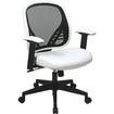 Office Star - DuraGrid Back and White Vinyl Seat Manager's Chair