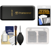 Transcend - USB 3.0 SD + microSD Card Reader (SDHC/SDXC/UHS-1) (Black) with Memory Card Case + Cleaning Kit
