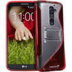 Fosmon - HYBO-SK Series Hybrid PC + TPU Skin Case Cover with Stand for LG G2 AT&T, Sprint, T-Mobile Only - Clear Red S Shape - Clear Red S Shape