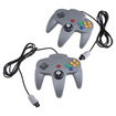 Image - Grey 2PCs Pack Pair Game Controllers for Super Nintendo 64 N64 - Gray - Gray