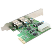 Image - USB 3.0 PCI-e Express Card 2 USB 3.0 Ports 4-Pin Power Connector for Desktops PCI Express Expansion - Green