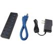 Image - Super-Speed USB 3.0 7 Port Hub + 5V 4A Power Adapter, USB 2.0 compatible - Black