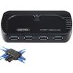 AGPtek - USB 3.0 10 Port Portable SuperSpeed Hub with 5V 4A Power Adapter LED Power indicator - Black