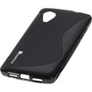 GreatShield - Guardian S Series Slim-Fit S-Line Design [High Quality TPU] Skin Case Cover for Google Nexus 5 - Black S Shape