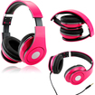 DrHotDeal - Adjustable Circumaural Over-Ear Earphone Stereo Headphone 3.5mm for iPod MP3 MP4 PC iPhone Music - Hot Pink - Hot Pink