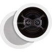 Monoprice - 6-1/2 Inches Glass Composite 3-Way, Dual Voice Coil, Stereo In-Ceiling Speaker (Pair) 40W Nominal - Black, White