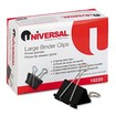"Universal - Large Binder Clips, Steel Wire, 1"" Capacity, 2"" Wide/Silver, Dozen - Black, Silver"