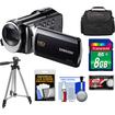 Samsung - HMX-F90 HD Digital Video Camcorder (Black) with 8GB Card + Case + Tripod + Accessory Kit