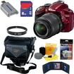 Nikon - Bundle D3200 24.2MP HD DSLR Camera Red With 18-55MM G VR AF-S DX Lens - 25496