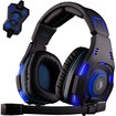 AGPtek - Sades SA-907 Stereo 7.1 Surround Professional Headset Pro Games Headphones - Black, Blue - Black, Blue