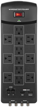 Monster - Core Power 1200 USB + AV 12-Outlet Surge Protector - Black