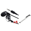 eForCity - 5-Pack Earphone and Stylus Bundle For Samsung Galaxy Note 10.1 N8000