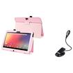 eForCity - Leather Stand Case + LED Reading Light Bundle For Google Nexus 10 - Pink