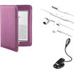 eForCity - Leather Cover + eBook LED Reading Light + Headset Bundle For Amazon Kindle Touch - Purple