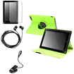 eForCity - 360 Degree Leather Case + LCD Cover + LED Light + Headset Bundle For Nook HD+9 - Green