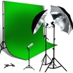 LoadStone Studio - Chromakey Green Screen Kit with 1000W Double Layer Black/Silver Umbrella - Black/Silver, Chromakey Green
