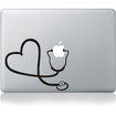 """Image - Stethoscope Heart Decal Sticker Skin Protective Skin for Apple MacBook® Pro Air Mac 13"""" inch PC - Gray - Gray"""