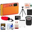 Sony - DSC-TX30 Shock+Waterproof Camera Orange+16GB Card+Battery+Case+Floating Strap+Flex Tripod+Acc Kit