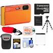 Sony - DSC-TX30 Shock+Waterproof Camera Orange+32GB Card+Battery+Case+Floating Strap+Flex Tripod+Acc Kit