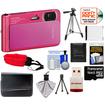 Sony - DSC-TX30 Shock+Waterproof Camera Pink+16GB Card+Battery+Case+Floating Strap+Tripod+Acc Kit