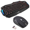 Image - Shortcut Keys LED Backlight Red/Blue Water-proof Gaming USB Wired Keyboard + Wireless Optical Mouse - Black - Black