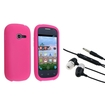 eForCity - Silicone Skin Case + 3.5mm In-Ear Stereo Headset for Samsung Galaxy Centura S738C - Pink Black