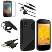 eForCity - TPU Rubber Skin Case + Anti-Glare Protector + Car Charger + USB Cable for LG Nexus 4 E960