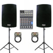 Podium Pro - New Powered Speakers Stands Mixer Cables with Bluetooth PP1202ASET3B - Black
