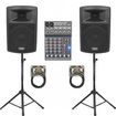 Podium Pro - New Powered Speakers Stands Mixer Cables and Bluetooth PP1003ASET3B - Black