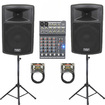 Podium Pro - New Powered Speakers Stands Mixer Cables with Bluetooth PP1503ASET3B - Black