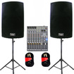 Podium Pro - ACTIVE 1800 WATT SPEAKERS STANDS MIXER CABLES MIC PACKAGE PP1502ASET2