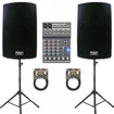 Podium Pro - 1800 WATT POWERED SPEAKERS STANDS MIXER CABLES PACKAGE PP1502ASET3