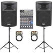 "Podium Pro - 15"" LIVE SOUND SPEAKER PACKAGE W MIXER STANDS CABLE PP1503ASET3"