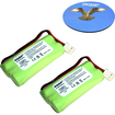 HQRP - 2-Pack Cordless Phone Battery for VTech 89-1347-02-00 Replacement + Coaster