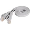 Fosmon - 3ft Cat5e Flat Tangle Free Network Ethernet Cable (Grey) - Gray - Gray