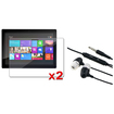 eForCity - 2 Pack LCD Protector Film + Headset Bundle For Microsoft Surface 8 Pro / Surface RT / Windows 8