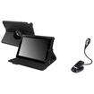 "eForCity - 360 Swivel Leather Case + LED Reading Light Bundle For B&N Nook HD plus 9"" - Black"