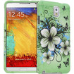 Fosmon - MATT-DESIGN Protective Rubberized Case for Samsung Galaxy Note 3 (2 pcs cover) - Green Flower - Green Flower