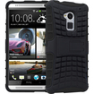Fosmon - HYBO-RAGGED Heavy Duty Protective Dual Layer Hybrid Case with Stand for HTC One Max / HTC T6 - Black - Black