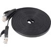 Fosmon - 10ft Cat6 Flat Snagless Network Ethernet Cable - Black - Black
