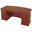 Lorell - Contemporary 9000 Bow Front Desk - Mahogany, Veneer - Mahogany, Veneer